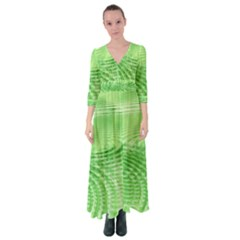 Wave Concentric Circle Green Button Up Maxi Dress