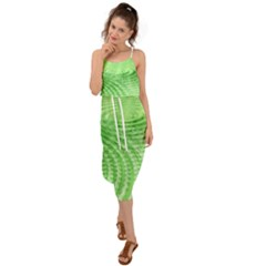 Wave Concentric Circle Green Waist Tie Cover Up Chiffon Dress