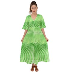 Wave Concentric Circle Green Kimono Sleeve Boho Dress