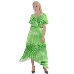 Wave Concentric Circle Green Cross Front Sharkbite Hem Maxi Dress