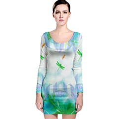 Scrapbooking Tropical Pattern Long Sleeve Bodycon Dress