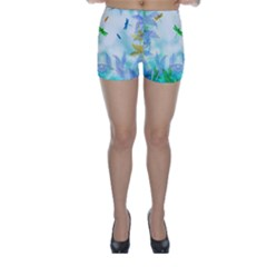 Scrapbooking Tropical Pattern Skinny Shorts