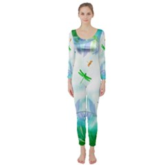 Scrapbooking Tropical Pattern Long Sleeve Catsuit