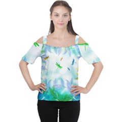 Scrapbooking Tropical Pattern Cutout Shoulder Tee