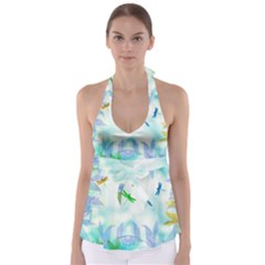 Scrapbooking Tropical Pattern Babydoll Tankini Top