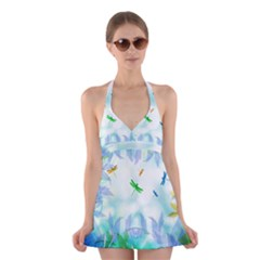 Scrapbooking Tropical Pattern Halter Dress Swimsuit