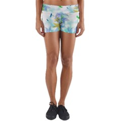 Scrapbooking Tropical Pattern Yoga Shorts