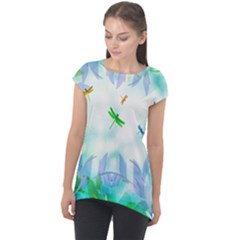 Scrapbooking Tropical Pattern Cap Sleeve High Low Top