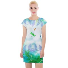 Scrapbooking Tropical Pattern Cap Sleeve Bodycon Dress