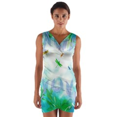 Scrapbooking Tropical Pattern Wrap Front Bodycon Dress
