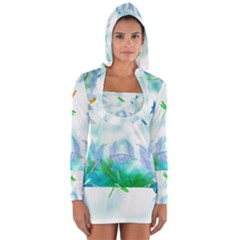 Scrapbooking Tropical Pattern Long Sleeve Hooded T-shirt