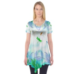 Scrapbooking Tropical Pattern Short Sleeve Tunic