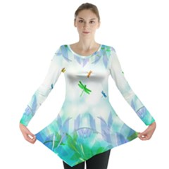 Scrapbooking Tropical Pattern Long Sleeve Tunic