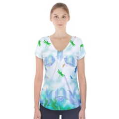 Scrapbooking Tropical Pattern Short Sleeve Front Detail Top