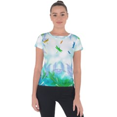 Scrapbooking Tropical Pattern Short Sleeve Sports Top