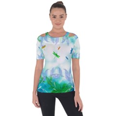 Scrapbooking Tropical Pattern Shoulder Cut Out Short Sleeve Top