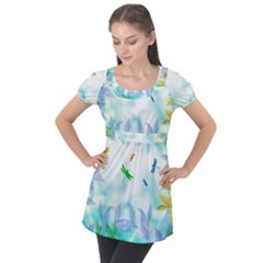 Scrapbooking Tropical Pattern Puff Sleeve Tunic Top