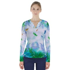 Scrapbooking Tropical Pattern V Neck Long Sleeve Top by HermanTelo