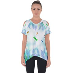 Scrapbooking Tropical Pattern Cut Out Side Drop Tee