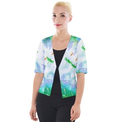 Scrapbooking Tropical Pattern Cropped Button Cardigan