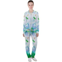 Scrapbooking Tropical Pattern Casual Jacket and Pants Set