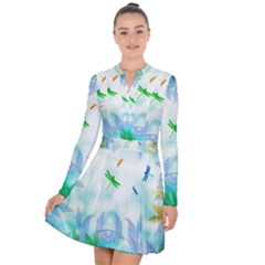 Scrapbooking Tropical Pattern Long Sleeve Panel Dress