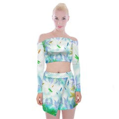 Scrapbooking Tropical Pattern Off Shoulder Top with Mini Skirt Set