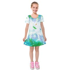 Scrapbooking Tropical Pattern Kids  Short Sleeve Velvet Dress