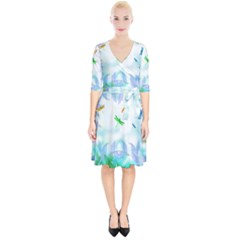 Scrapbooking Tropical Pattern Wrap Up Cocktail Dress