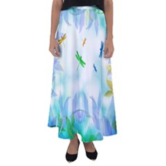 Scrapbooking Tropical Pattern Flared Maxi Skirt