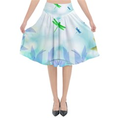 Scrapbooking Tropical Pattern Flared Midi Skirt