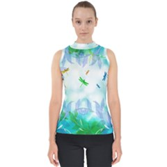 Scrapbooking Tropical Pattern Mock Neck Shell Top