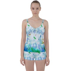 Scrapbooking Tropical Pattern Tie Front Two Piece Tankini