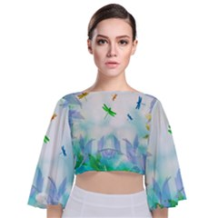 Scrapbooking Tropical Pattern Tie Back Butterfly Sleeve Chiffon Top