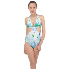 Scrapbooking Tropical Pattern Halter Front Plunge Swimsuit