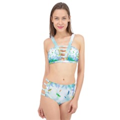 Scrapbooking Tropical Pattern Cage Up Bikini Set