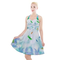 Scrapbooking Tropical Pattern Halter Party Swing Dress