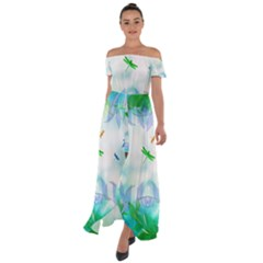 Scrapbooking Tropical Pattern Off Shoulder Open Front Chiffon Dress