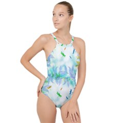 Scrapbooking Tropical Pattern High Neck One Piece Swimsuit