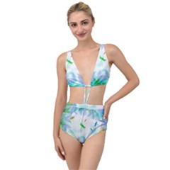 Scrapbooking Tropical Pattern Tied Up Two Piece Swimsuit