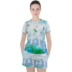 Scrapbooking Tropical Pattern Women s Tee and Shorts Set
