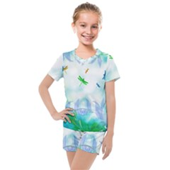 Scrapbooking Tropical Pattern Kids  Mesh Tee And Shorts Set