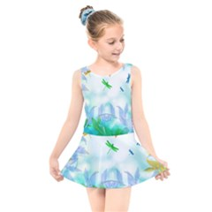 Scrapbooking Tropical Pattern Kids  Skater Dress Swimsuit