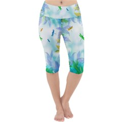 Scrapbooking Tropical Pattern Lightweight Velour Cropped Yoga Leggings