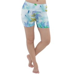 Scrapbooking Tropical Pattern Lightweight Velour Yoga Shorts