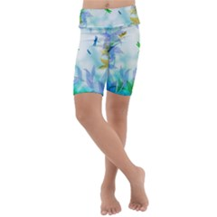 Scrapbooking Tropical Pattern Kids  Lightweight Velour Cropped Yoga Leggings by HermanTelo