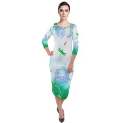 Scrapbooking Tropical Pattern Quarter Sleeve Midi Velour Bodycon Dress
