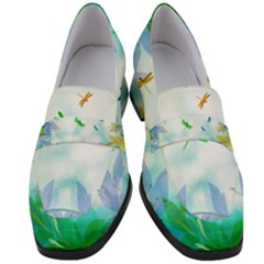 Scrapbooking Tropical Pattern Women s Chunky Heel Loafers