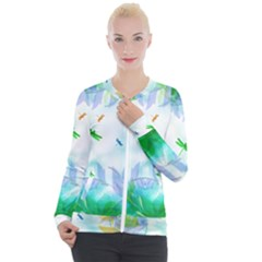 Scrapbooking Tropical Pattern Casual Zip Up Jacket
