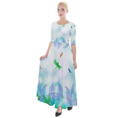 Scrapbooking Tropical Pattern Half Sleeves Maxi Dress